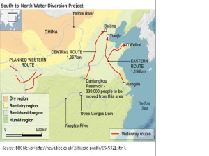 Figure 1: China's south to north water diversion projects.