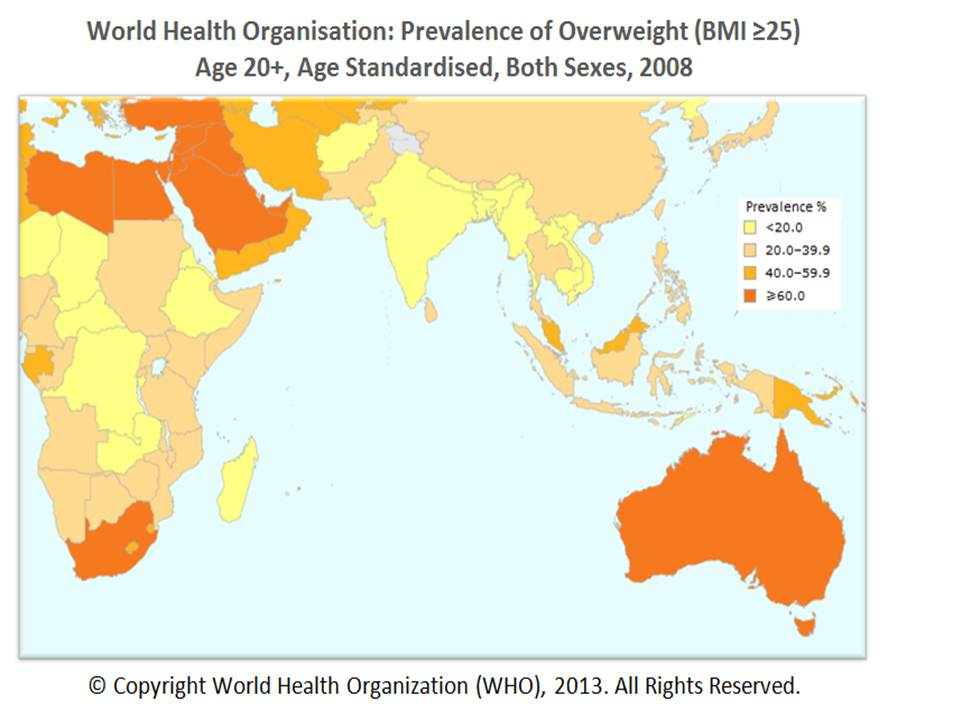 Food overweight Asia 2008 Source WHO