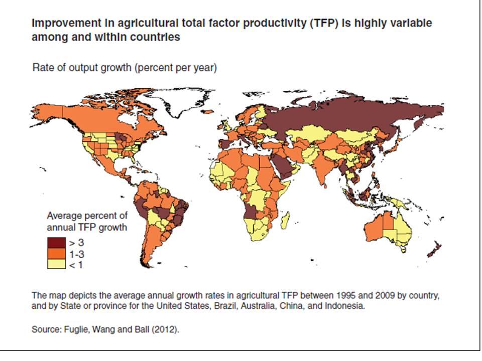 Food Total Factor Productivity world variation Source USDA web