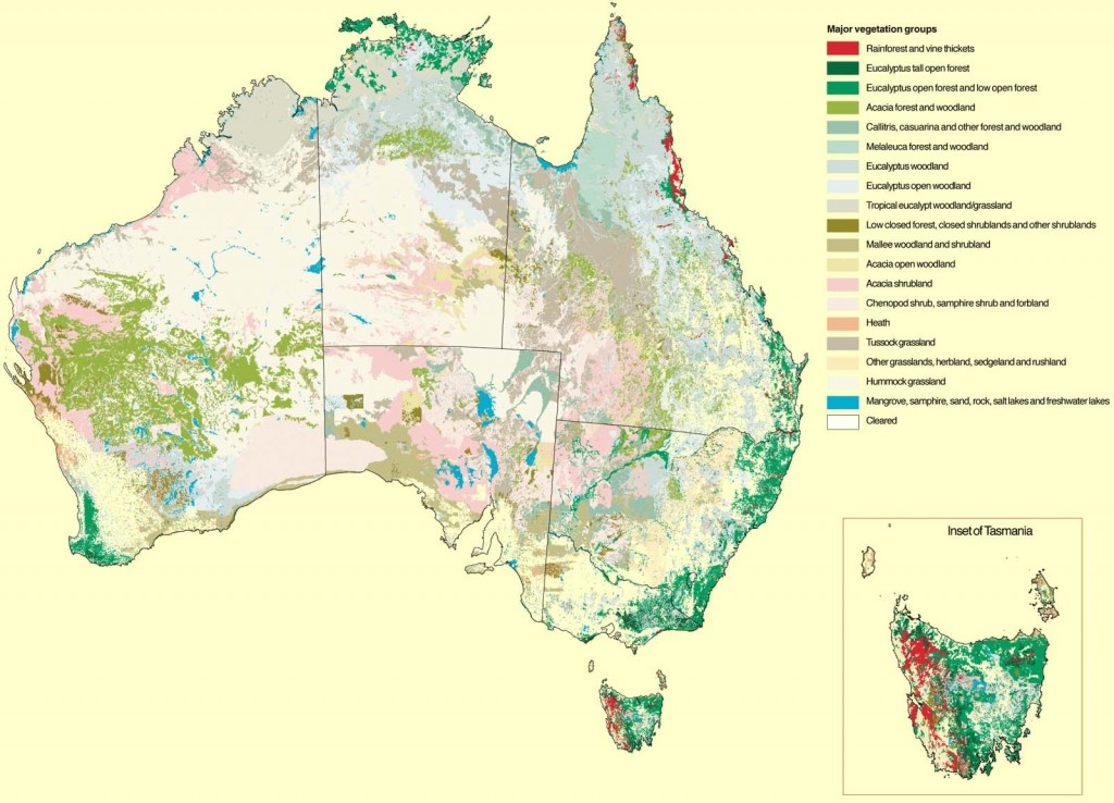 Australia'a major vegetation types. Source: National Land & Water Resources Audit 2001.