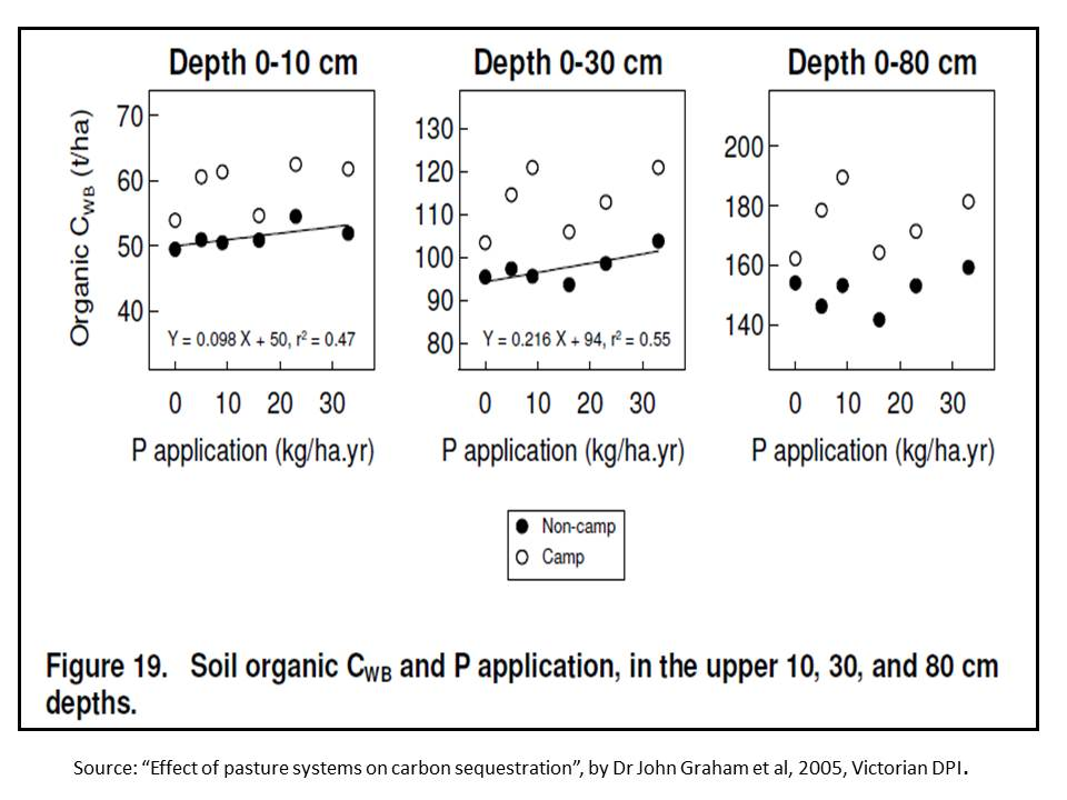 Soil organic carbon change to depth in long term P trial Hamilton