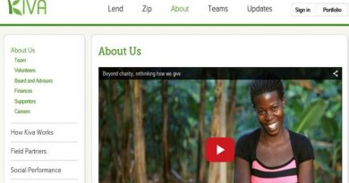 screenshot of the Kiva microfinance web page