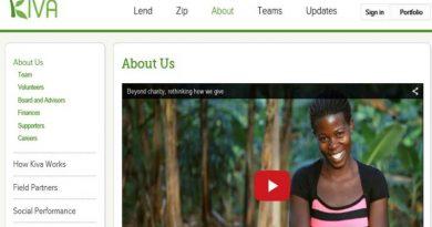 screenshot of the Kiva microfinance web page